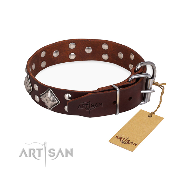 Natural leather dog collar with incredible reliable decorations