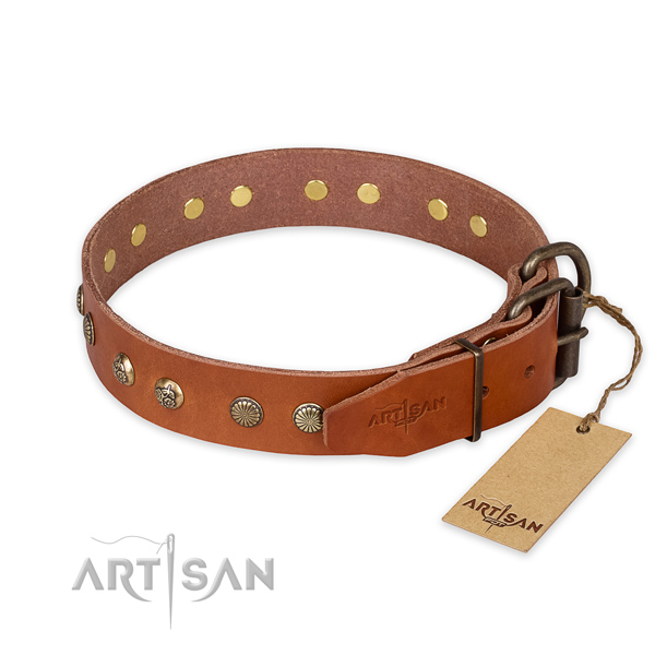 Corrosion resistant buckle on genuine leather collar for your attractive doggie