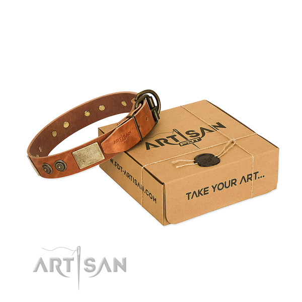 Rust-proof D-ring on genuine leather dog collar for comfy wearing