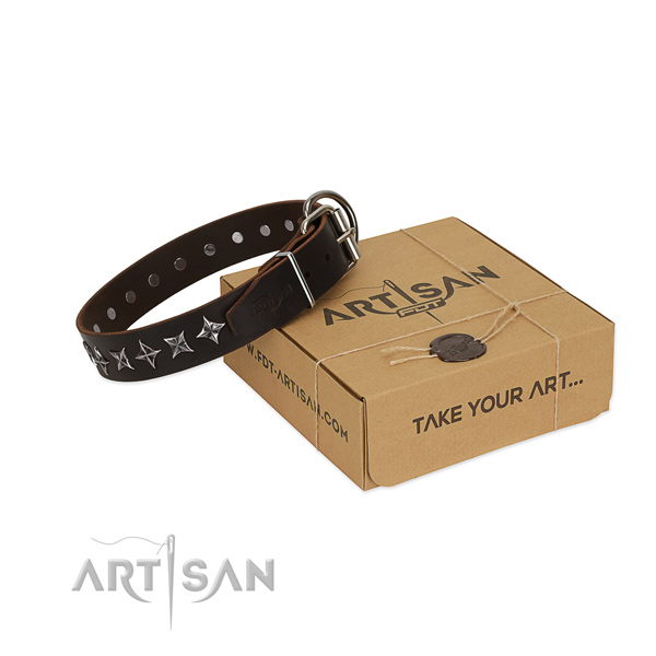 Comfortable wearing dog collar of strong full grain genuine leather with embellishments