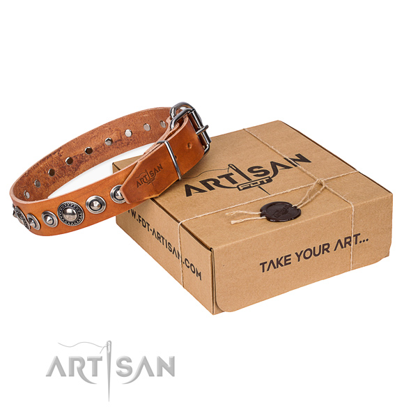 Full grain genuine leather dog collar made of gentle to touch material with rust resistant buckle