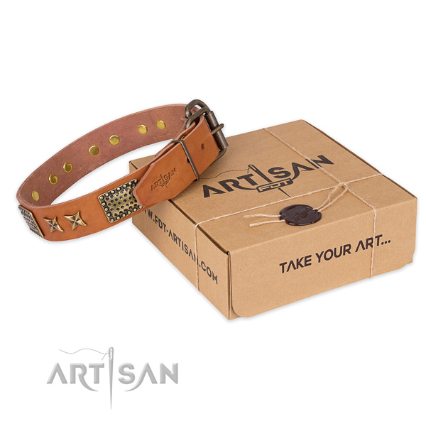 Rust-proof hardware on full grain genuine leather collar for your lovely canine