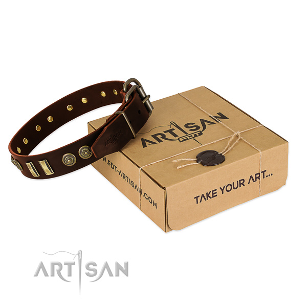 Corrosion proof buckle on leather dog collar for your doggie