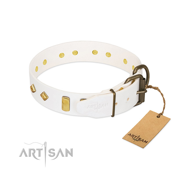 Soft full grain genuine leather dog collar with rust resistant fittings