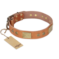 """The Middle Ages"" FDT Artisan Handcrafted Tan Leather Bulldog Collar"