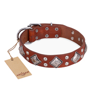 """Magic Squares"" FDT Artisan Tan Leather Bulldog Collar with Silver-like Decor"