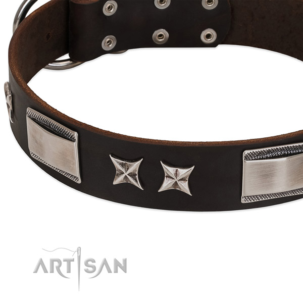 Soft full grain natural leather dog collar with durable D-ring