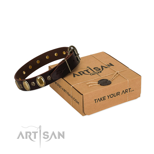 Everyday walking gentle to touch genuine leather dog collar with adornments