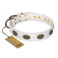 """Lovely Lace"" FDT Artisan White Leather Bulldog Collar with Old Bronze Look Ovals"