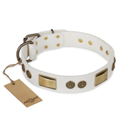 """Golden Avalanche"" FDT Artisan White Leather Bulldog Collar with Old Bronze Look Plates and Circles"