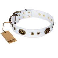 """Magnetic Appeal"" FDT Artisan White Leather Bulldog Collar with Old Bronze Look Decorations"