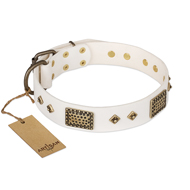 """Snow-covered Gold"" FDT Artisan White Leather Bulldog Collar"