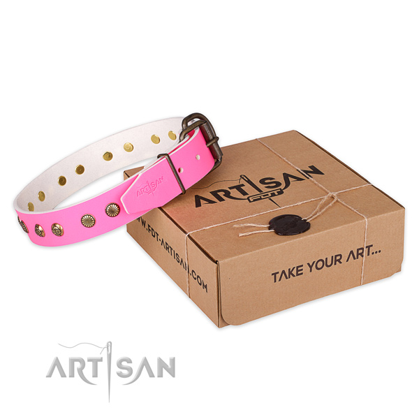 Rust-proof hardware on genuine leather collar for your lovely dog