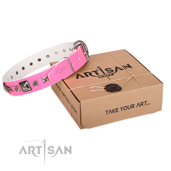 Comfortable wearing natural leather dog collar with studs