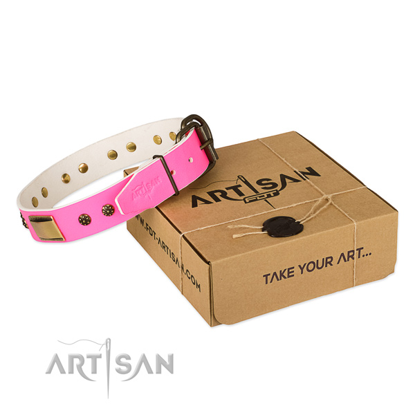 Adorned natural genuine leather collar for your attractive doggie