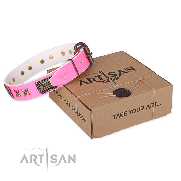 Corrosion proof traditional buckle on natural genuine leather collar for your lovely pet