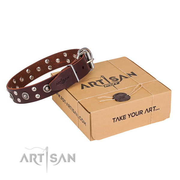 Rust resistant hardware on genuine leather collar for your beautiful doggie
