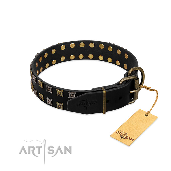 High quality full grain natural leather dog collar created for your four-legged friend