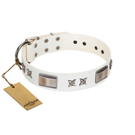 """Bling-Bling"" FDT Artisan White Leather Bulldog Collar with Sparkling Stars and Plates"