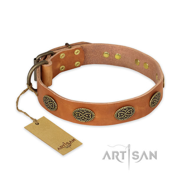 Convenient genuine leather dog collar with durable D-ring