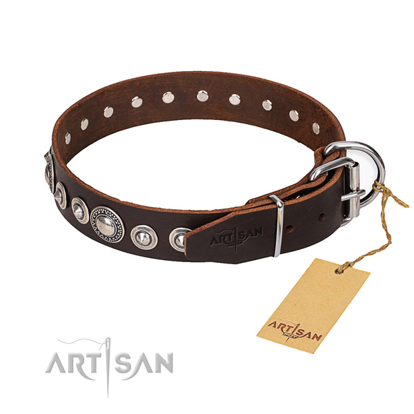 Leather dog collar made of top notch material with rust-proof traditional buckle