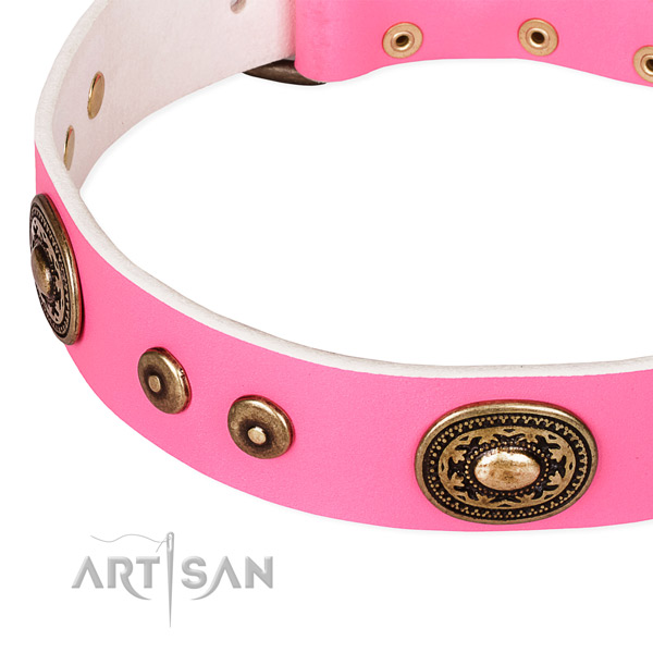 Full grain natural leather dog collar made of top notch material with studs