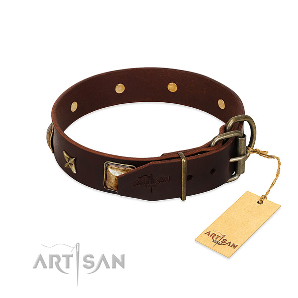 Full grain natural leather dog collar with corrosion resistant buckle and adornments