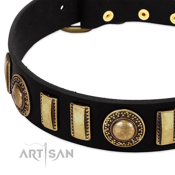 High quality full grain leather dog collar with corrosion proof buckle