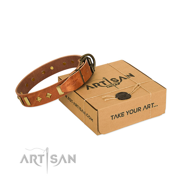 Handy use reliable full grain leather dog collar with decorations