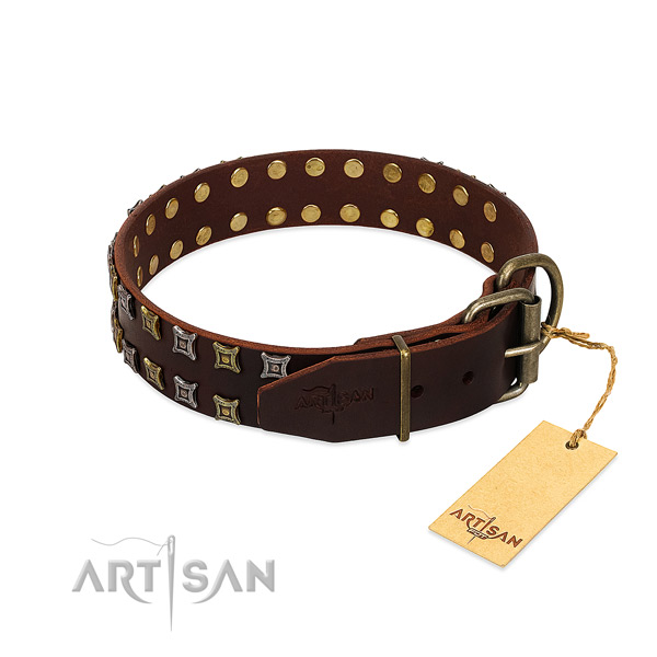 Durable full grain leather dog collar made for your four-legged friend