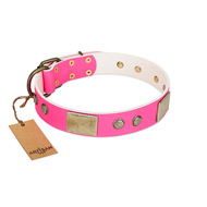 """Flower Parade"" FDT Artisan Pink Leather Bulldog Collar with Plates and Studs"