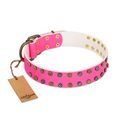 """Blushing Star"" FDT Artisan Pink Leather Bulldog Collar with Two Rows of Small Studs"