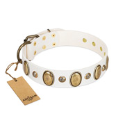"""Milky Lagoon"" FDT Artisan White Leather Bulldog Collar with Vintage Looking Oval and Round Adornments"