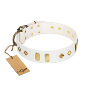 """Hella Cool"" FDT Artisan White Leather Bulldog Collar Adorned with Plates and Rhombs"