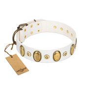 """Pearly Grace"" FDT Artisan White Leather Bulldog Collar with Engraved Ovals and Small Dotted Studs"
