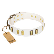 """Glorious Light"" FDT Artisan White Leather Bulldog Collar with Old Bronze-like Plates"