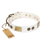 """Sweet Melody"" FDT Artisan White Leather Bulldog Collar with Plates and Ornamented Studs"