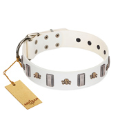 """Mysterious Voyage"" FDT Artisan White Leather Bulldog Collar with Engraved Plates and Skulls"