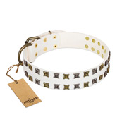 """Ice Peak"" FDT Artisan White Leather Bulldog Collar with Silvery and Goldish Decorations"