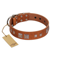 """Egyptian Gifts"" Handmade FDT Artisan Tan Leather Bulldog Collar with Chrome-plated Pyramids"