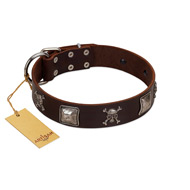 """Nut-Brown Finery"" Embellished FDT Artisan Brown Leather Bulldog Collar with Chrome Plated Crossbones and Plates"