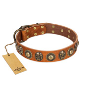 """Golden Epoch"" FDT Artisan Tan Leather Bulldog Collar with Old Bronze-plated Medallions and Conchos"