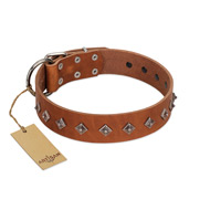 """Broadway"" Handmade FDT Artisan Tan Leather Bulldog Collar with Dotted Pyramids"