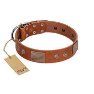 """Great Obelisk"" Handcrafted FDT Artisan Tan Leather Bulldog Collar with Large Plates and Pyramids"