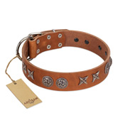"""Brave Spirit"" Handmade FDT Artisan Designer Tan Leather Bulldog Collar with Shields"