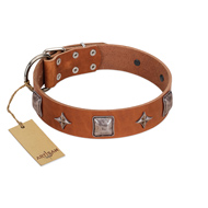 """Lucky Star"" FDT Artisan Tan Leather Bulldog Collar with Silver-Like Embellishments"