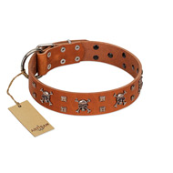"""Rebellious Nature"" FDT Artisan Tan Leather Bulldog Collar Embellished with Crossbones and Square Studs"