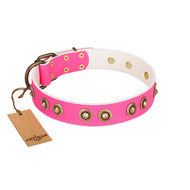 """Bright Delight"" Pink FDT Artisan Leather Bulldog Collar with Large Old Bronze-like Plated Studs"