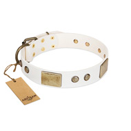 """Pure Elegance "" FDT Artisan White Decorated Leather Bulldog Collar - 1 1/2 inch (40 mm) wide"