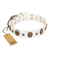 """Magic Bullet"" FDT Artisan White Leather Bulldog Collar with Studs and Skulls"